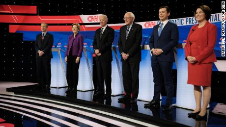 Presidential candidates Tom Steyer, Elizabeth Warren, Joe Biden, Bernie Sanders, Pete Buttigieg and Amy Klobuchar participate in the Democratic debate in Des Moines, Iowa, on January 14.