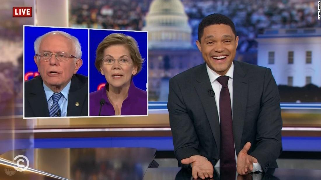 Late-night hosts mock the Warren-Sanders feud