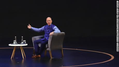 Jeff Bezos speaking at an Amazon event in New Delhi on Wednesday.