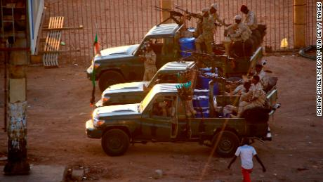 Heavily armed members of Sudan's intelligence services at the headquarters of the intelligence agency in the Riyadh district of the Khartoum on January 14, 2020.