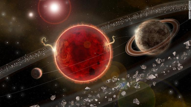 This is an artist's rendering of the Proxima Centauri planetary system. The newly discovered super-Earth exoplanet Proxima c, on the right, has an orbit of about 5.2 Earth years around its host star. The system also comprises the smaller Proxima b, on the left, discovered in 2016. Illustration by Lorenzo Santinelli.