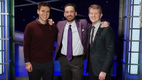 "James Holzhauer, Brad Rutter and Ken Jennings competed in ""Jeopardy! The Greatest of All Time."""