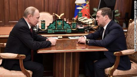 Russian President Vladimir Putin meets with Prime Minister Dmitry Medvedev in Moscow on January 15, 2020. (Photo by Alexey NIKOLSKY / Sputnik / AFP) (Photo by ALEXEY NIKOLSKY/Sputnik/AFP via Getty Images)
