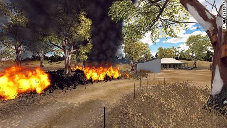 A grassfire scenario in virtual reality, created by FLAIM Systems.