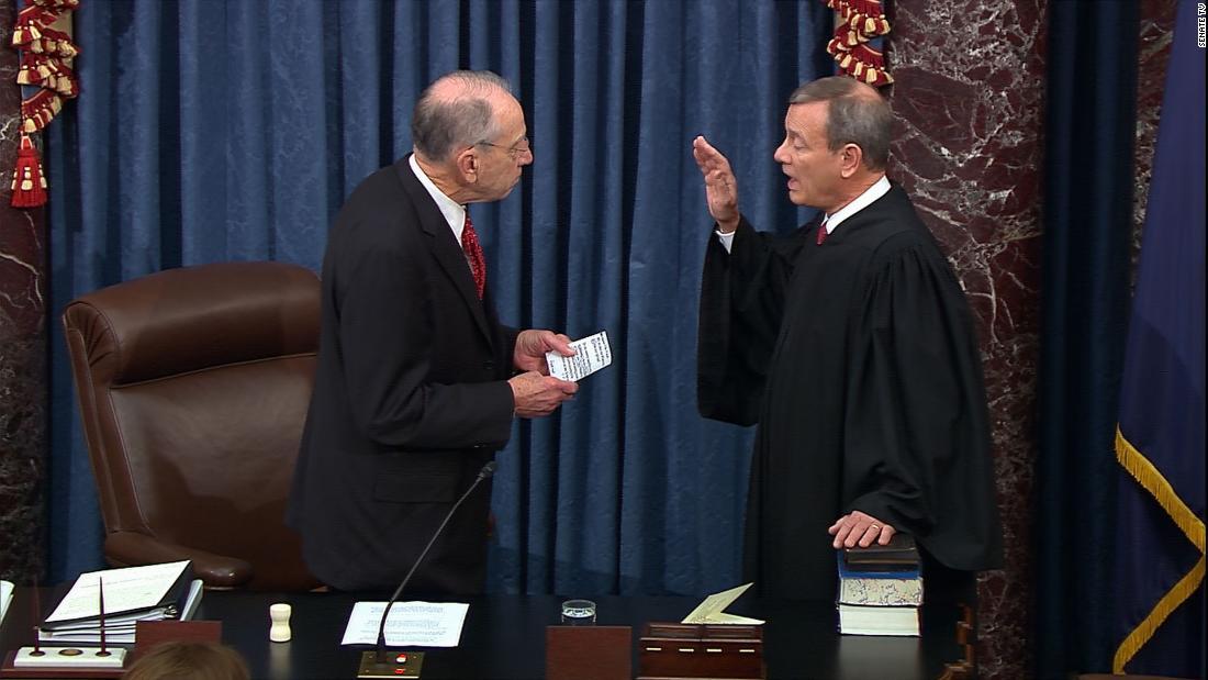 Watch senators take oath at impeachment trial
