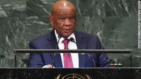 Lesotho Prime Minister Thomas Thabane addresses the 73rd session of the General Assembly at the United Nations in New York on September 28, 2018.