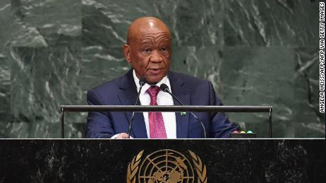 Lesotho Prime Minister Thomas Motsoahae Thabane addresses the 73rd session of the General Assembly at the United Nations in New York on September 28, 2018. (Photo by Angela Weiss / AFP)        (Photo credit should read ANGELA WEISS/AFP via Getty Images)