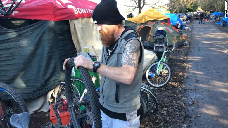 Bicycle Dave, as he's known, builds bikes out of spare parts.