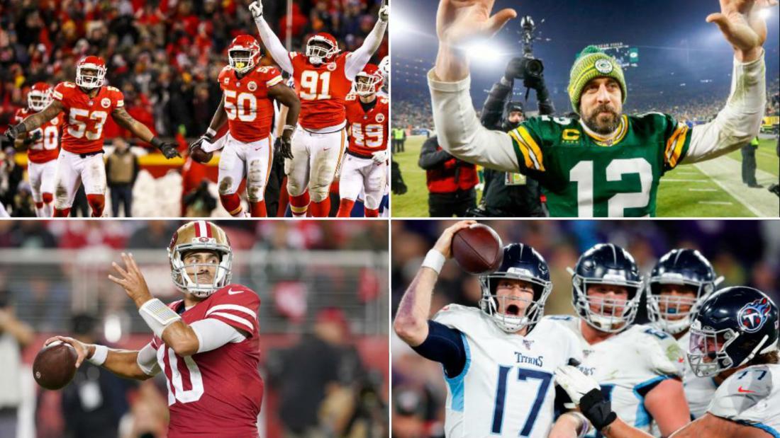 Vier NFL-teams Platz Weg, um zu sehen, wer spielen wird, in der Super-Bowl-LIV