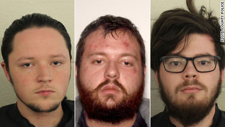 From left: Jacob Oliver Kaderli, Michael John Helterbrand and Luke Austin Lane face charges of conspiracy to commit murder and participation in a criminal gang known as The Base, police said.