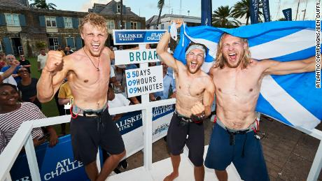 The MacLean brothers completed the row in 35 days, smashing previous records.