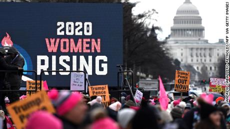 Crowds turn out for the 4th annual Women's March, and 2020 election issues are front and center