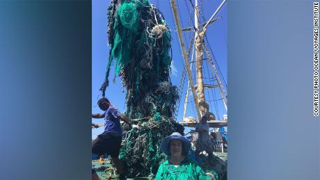 A ghost net recovered in 2019 contained 42 tons of netting and consumer plastics