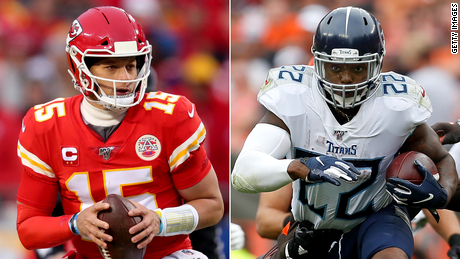 Kansas City Chiefs quarterback Patrick Mahomes leads the Chief's offense while Tennesee is spearheaded by running back Derrick Henry.
