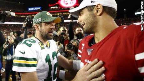 Green Bay Packers quarterback Aaron Rodgerswill attempt to lead his team past the San Francisco 49ers and quarterback Jimmy Garoppolo.