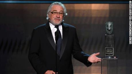 US actor Robert De Niro accepts the SAG Life Achievment Award during the 26th Annual Screen Actors Guild Awards show at the Shrine Auditorium in Los Angeles on January 19, 2020. (Photo by Robyn Beck / AFP) (Photo by ROBYN BECK/AFP via Getty Images)
