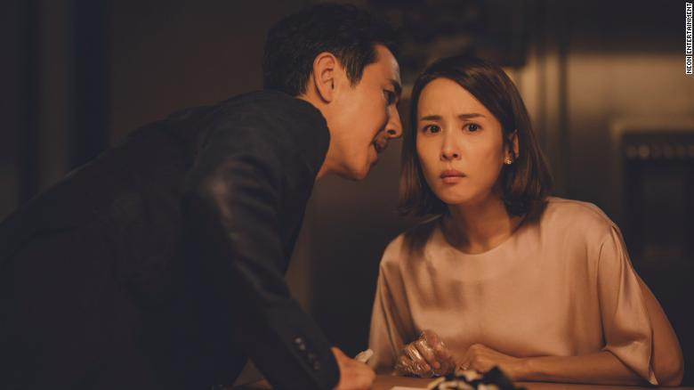 "Sun-kyun Lee (left) and Yeo-jeong Jo (right) appear in a scene from ""Parasite."""