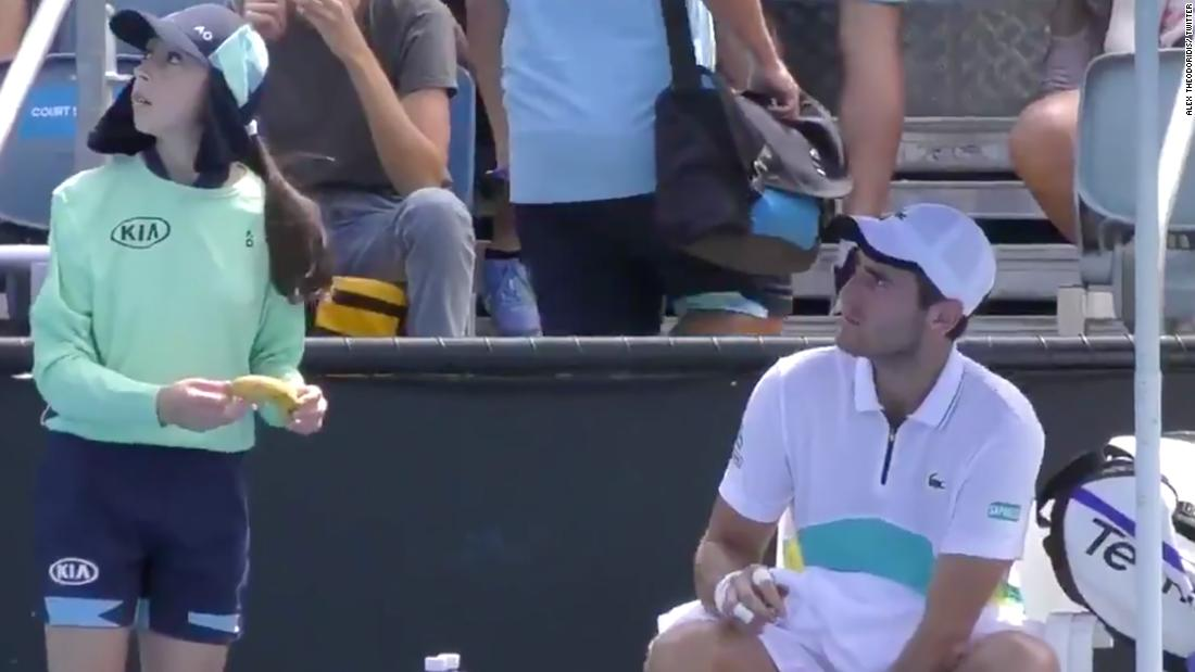 Tennis player Elliot Benchetrit told off by umpire for asking ball girl to peel a banana for him