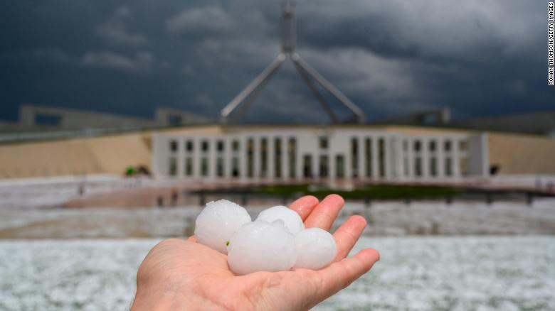 Golf ball-sized hail at Parliament House on January 20, 2020 in Canberra, Australia.
