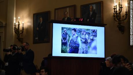 A photo of Zelensky displayed during an impeachment inquiry hearing.