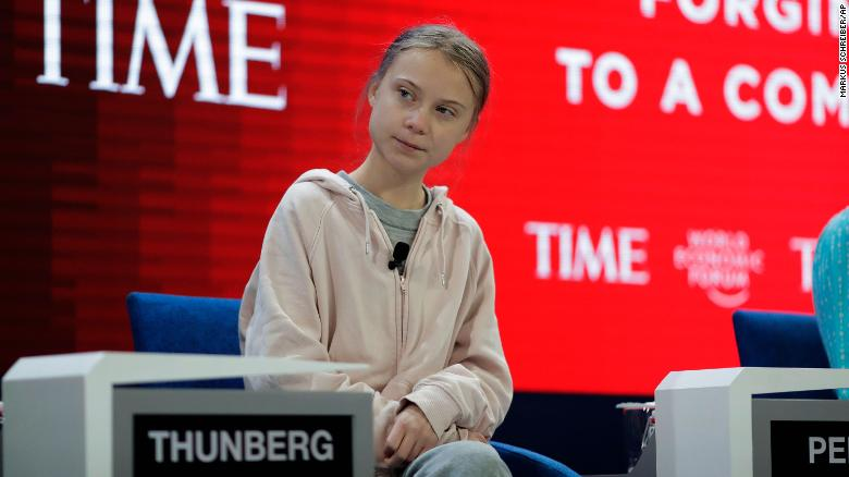 Greta ignores Davos panel question to give warning