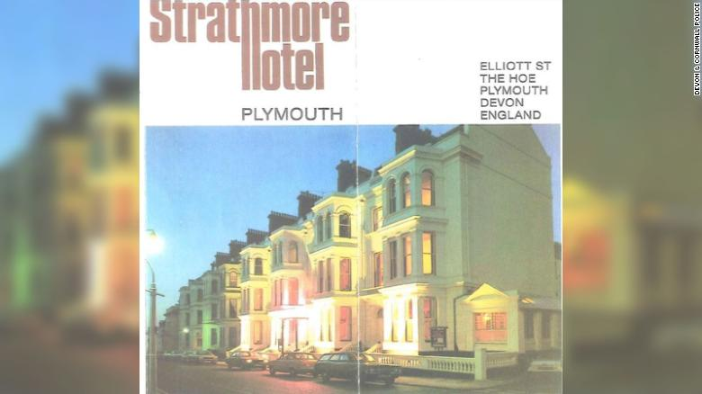 A poster showing the Strathmore Hotel, where the rapes took place.