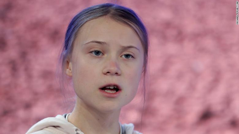 Swedish environmental activist Greta Thunberg addresses guests at the World Economic Forum in Davos, Switzerland, Tuesday, Jan. 21, 2020. The 50th annual meeting of the forum will take place in Davos from Jan. 21 until Jan. 24, 2020. (AP Photo/Michael Probst)