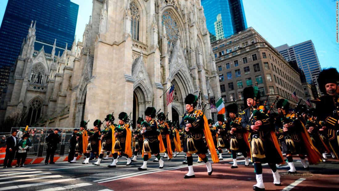 <strong>New York:</strong> Bagpipers pass St. Patrick's Cathedral during the annual  St. Patrick's Day Parade on March 16, 2019. New York's parade dates back to 1762.