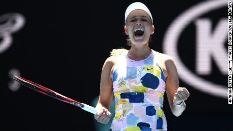 Donna Vekic celebrates victory over Maria Sharapova at the Australian Open.