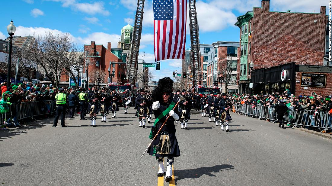 <strong>Boston:</strong> A pipes and drum band marches during the annual St. Patrick's Day parade in South Boston on March 17, 2019. Click through the gallery for more parade photos from Boston and other cities around the world through the years: