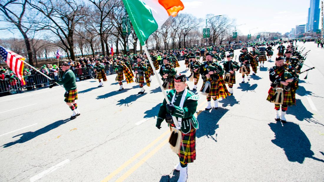 <strong>Chicago:</strong> The Cullerton Marchers join the St. Patrick's Day Parade on March 16, 2019.