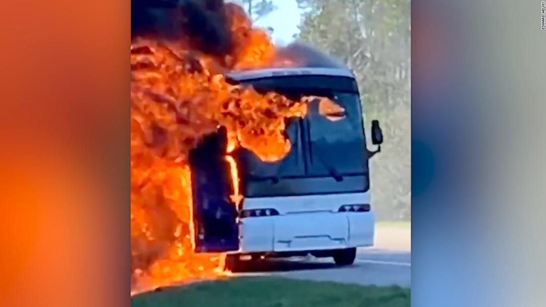 Charter bus carrying college students engulfed in flames
