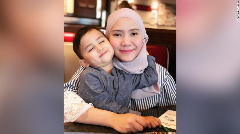 Haryz with his mom, Nur Anira Asyikin.