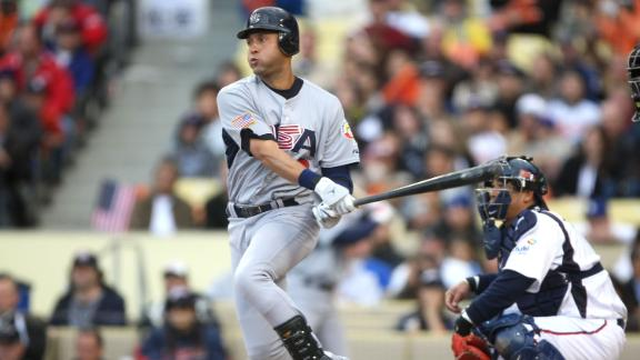 Jeter plays for the United States during the semifinals of the World Baseball Classic in March 2009.