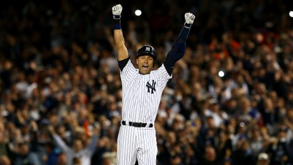 """Jeter celebrates after hitting the game-winning RBI in his last game at Yankee Stadium. """"I don"""