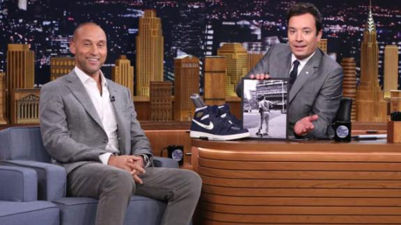 """Jeter is interviewed by """"Tonight Show"""" host Jimmy Fallon in October 2014."""