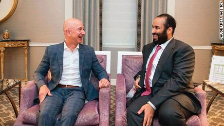 Amazon CEO Jeff Bezos shown with Saudi Crown Prince Mohammed bin Salman.