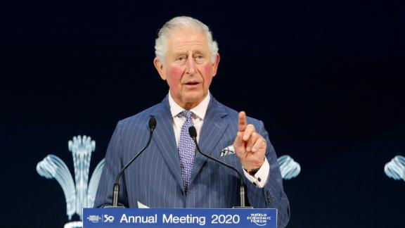 Britain's Prince Charles addresses the World Economic Forum in Davos, Switzerland, Wednesday, Jan. 22, 2020. The 50th annual meeting of the forum is taking place in Davos from Jan. 21 until Jan. 24, 2020. (AP Photo/Markus Schreiber)