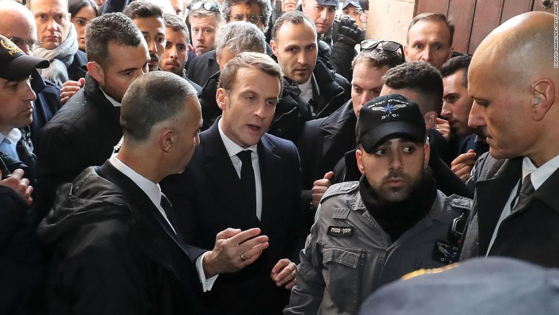 Emmanuel Macron shouts at Israeli security officers in altercation in Jerusalem