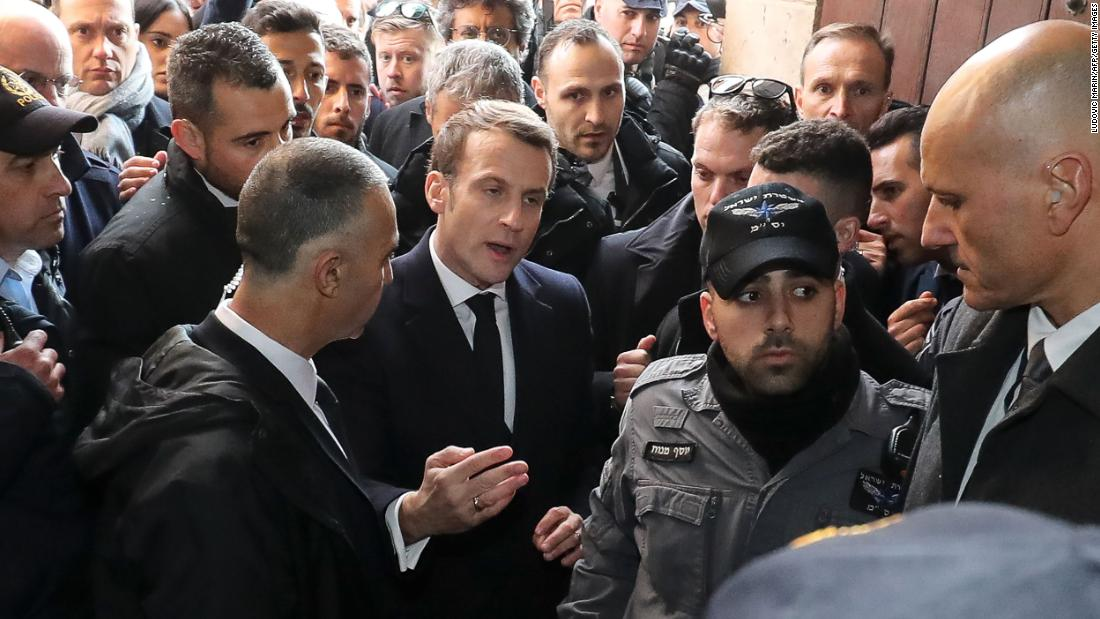 Macron shouts at Israeli security officers in altercation in Jerusalem
