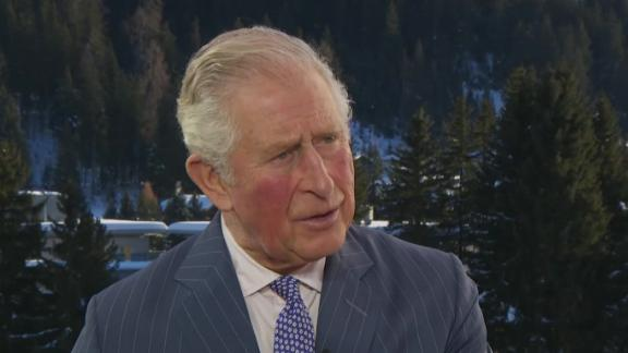 A picture of Prince Charles being interviewed by Max Foster in Davos.