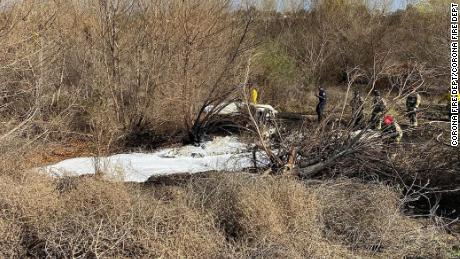 The plane crashed on the east side of the Corona Municipal Airport.