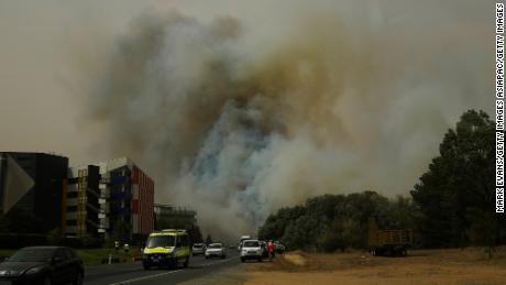 A bushfire burns on January 23, 2020 in Canberra, Australia.