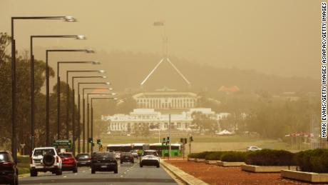Parliament House in Canberra, Australia, is blanketed by bushfire smoke on January 23, 2020.