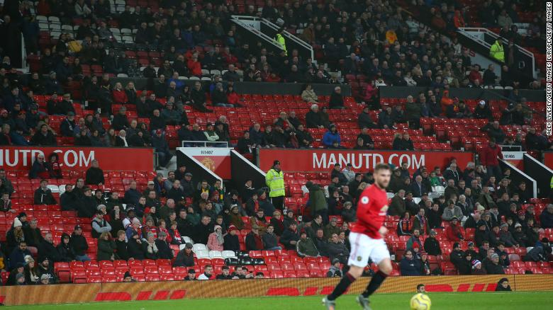 Empty seats are seen around Old Trafford during the match between Manchester United and Burnley.