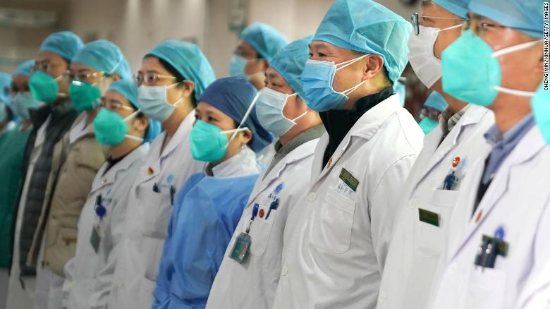 Medical staff of Wuhan's Union Hospital attend a gathering on January 22.