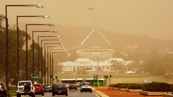 The Parliament House in Canberra is blanketed by bushfire smoke on January 23.