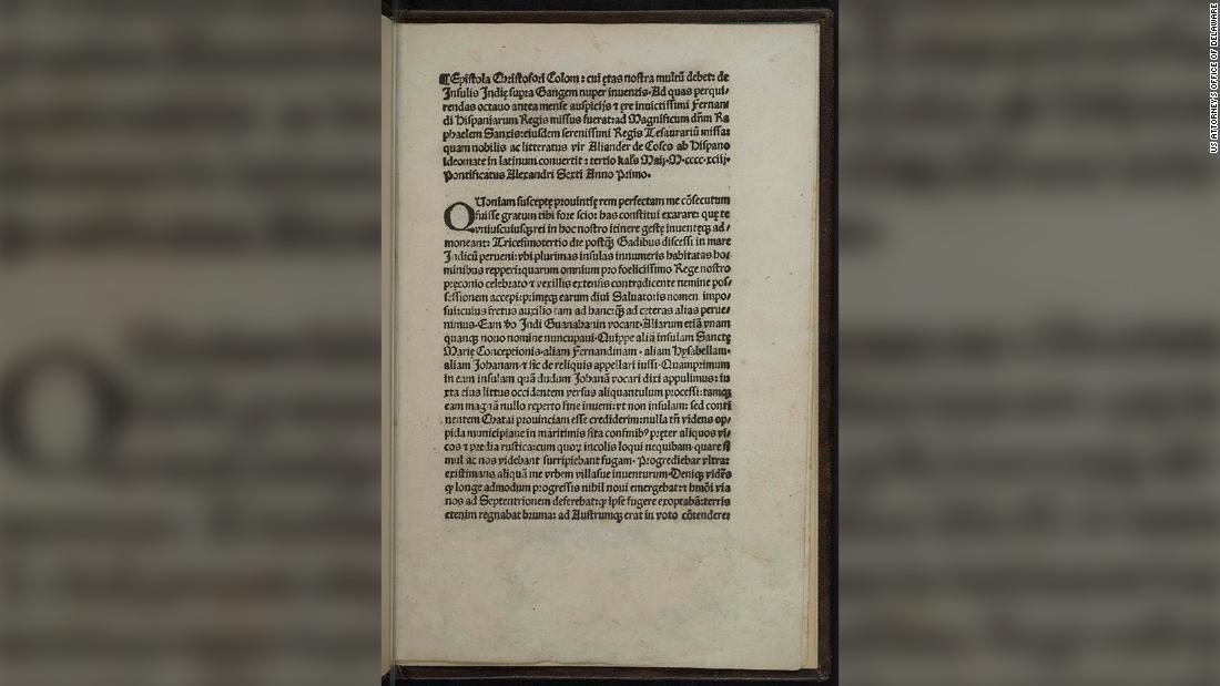 Gestohlene Kopie der eine seltene Christopher Kolumbus-Brief wurde wiederhergestellt