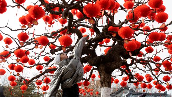 A child jumps to touch lanterns hung on a tree ahead of the Chinese Lunar New Year celebrations in Beijing on Thursday, Jan. 16, 2020. The world's largest annual migration begins this week in China with millions of Chinese traveling to their hometowns to celebrate the Lunar New Year on Jan. 25 this year which marks the Year of the Rat on the Chinese zodiac. (AP Photo/Ng Han Guan)