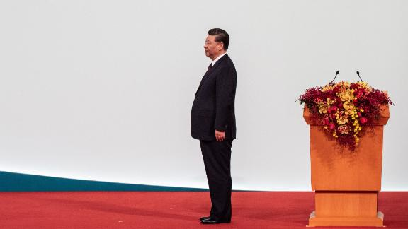 China's President Xi Jinping looks on as Macau's incoming chief executive Ho Iat-seng (unseen) takes his oath during an inauguration ceremony as part of 20th anniversary handover celebrations, in Macau on December 20, 2019. - Macau on December 20 marks 20 years since the former colony was returned to China with a celebration led by President Xi Jinping touting the success of the pliant gambling hub while Hong Kong boils. (Photo by Philip FONG / AFP) (Photo by PHILIP FONG/AFP via Getty Images)